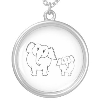 Dos elefantes blancos lindos. Historieta Colgante Redondo