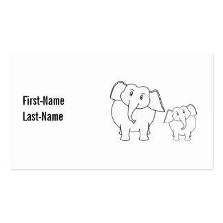 Dos elefantes blancos lindos. Historieta Tarjetas De Visita