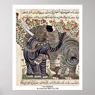 Dos elefantes de Arabischer Maler Um 1295 Póster
