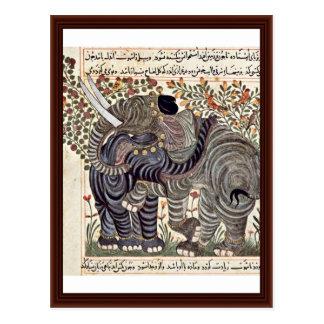 Dos elefantes de Arabischer Maler Um 1295 Postales