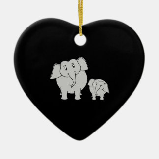 Dos elefantes lindos. Dibujo animado en negro Ornamento Para Reyes Magos
