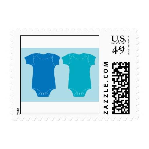 Dos en azul sello