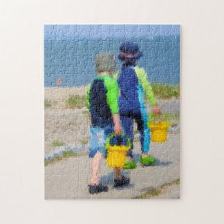 Dos en la playa rompecabezas con fotos