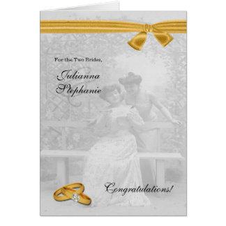 Dos enhorabuena gay del boda de las novias de tarjeta de felicitación