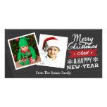 Dos enmarcaron la pizarra de las Felices Navidad Tarjetas Fotograficas Personalizadas