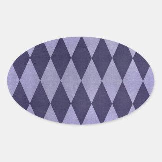 Dos entonaron a Harlequins púrpuras Pegatina Ovalada