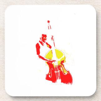 Dos entonaron amarillo rojo del esquema vertical d posavaso