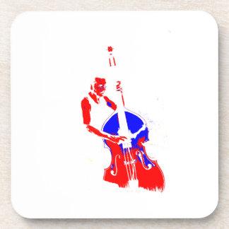 Dos entonaron el azul rojo del esquema vertical de posavasos de bebida