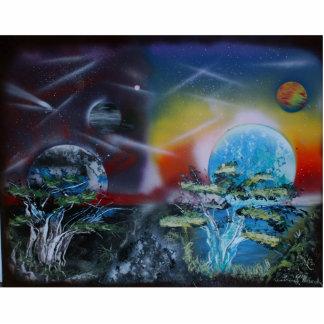dos escenas del planeta de los lados spacepainting
