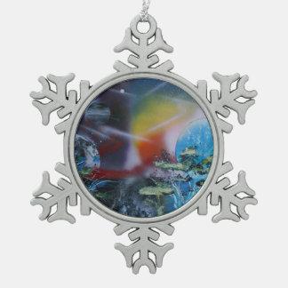 dos escenas del planeta de los lados spacepainting adorno de peltre en forma de copo de nieve