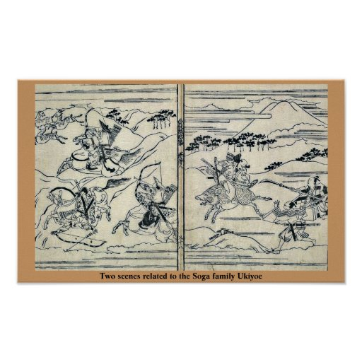 Dos escenas relacionadas con la familia Ukiyo-e de Póster