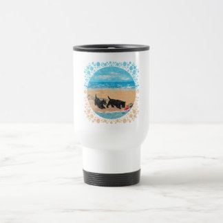 Dos escoceses en la playa taza de café