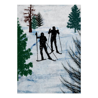 Dos esquiadores del campo a través póster