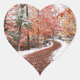 Dos estaciones calcomania de corazon
