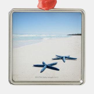 Dos estrellas de mar azules en el borde del agua adorno navideño cuadrado de metal