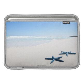Dos estrellas de mar azules en el borde del agua e fundas MacBook