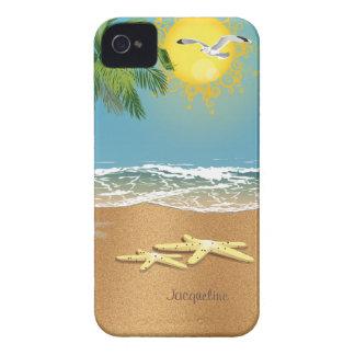 Dos estrellas de mar en la playa iPhone 4 Case-Mate cárcasa