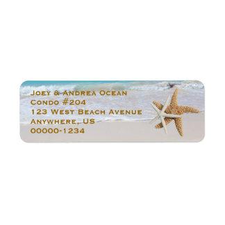 Dos etiquetas del remite de la playa del océano de etiquetas de remite