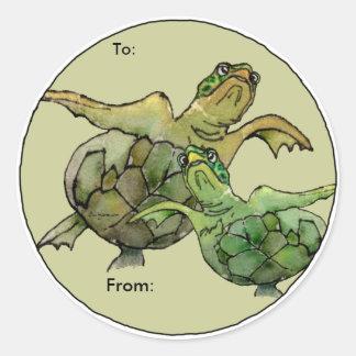 Dos etiquetas personalizadas dibujo animado de las pegatina redonda