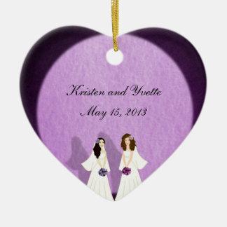 Dos favores lesbianos del ornamento del boda de ornatos