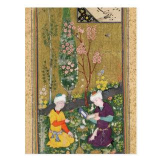 Dos figuras que leen y que se relajan en una postal