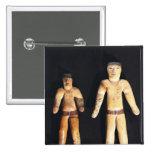 Dos figurillas masculinas, cultura de Recuay Pin Cuadrada 5 Cm