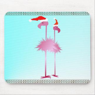 Dos flamencos del navidad mousepad