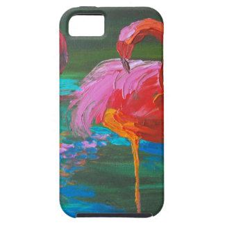 Dos flamencos rosados en el lago verde (arte de iPhone 5 fundas