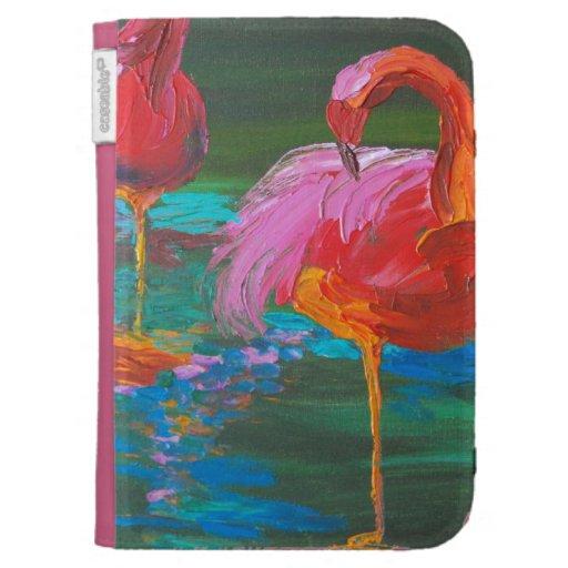 Dos flamencos rosados en el lago verde (arte de K.