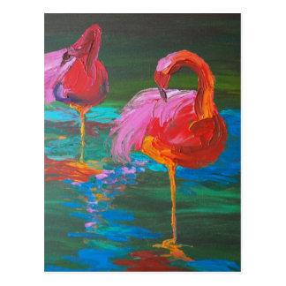 Dos flamencos rosados en el lago verde (arte de K. Postales