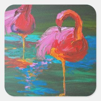 Dos flamencos rosados en el lago verde (arte de calcomanias cuadradas