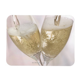 Dos flautas de champán que son llenadas de chispea imanes rectangulares