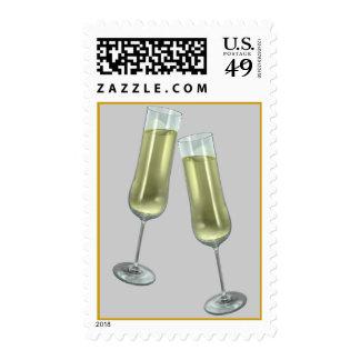 Dos flautas de champán sellos