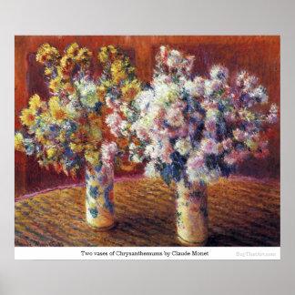 Dos floreros de crisantemos de Claude Monet Impresiones