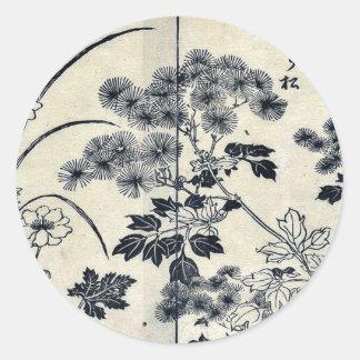 Dos flores de la aguja de los pinos por Tachibana, Etiqueta Redonda