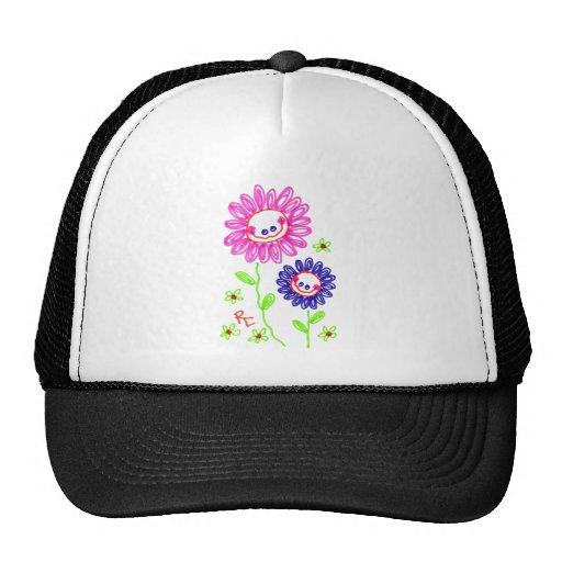 Dos flores felices de mueca gorra