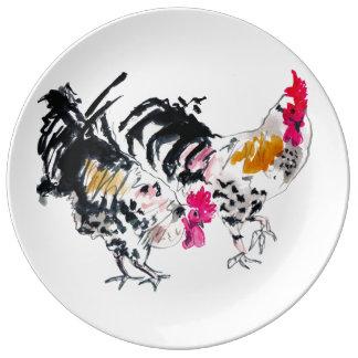 Dos gallos platos de cerámica