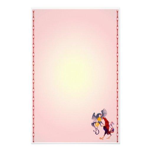 Dos gallos que luchan coloridos inmóviles  papeleria de diseño