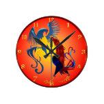 Dos gallos que luchan coloridos Wallclock Reloj De Pared