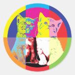Dos gatitos del arte pop pegatinas redondas