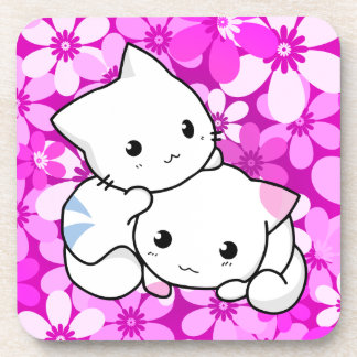 Dos gatitos en fondo rosado posavasos de bebidas