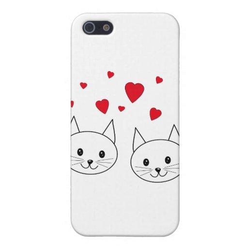 Dos gatos blancos lindos con los corazones rojos iPhone 5 cobertura