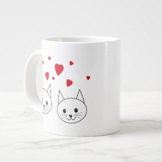 Dos gatos blancos lindos con los corazones rojos tazas extra grande