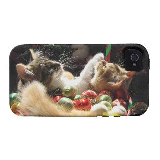 Dos gatos del gatito del navidad, gatitos junto, c iPhone 4/4S fundas