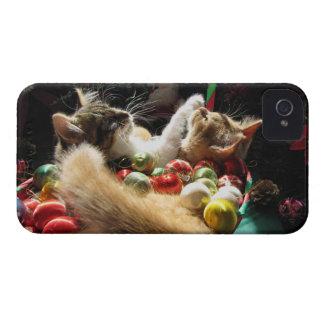 Dos gatos del gatito del navidad, gatitos junto, c Case-Mate iPhone 4 carcasas