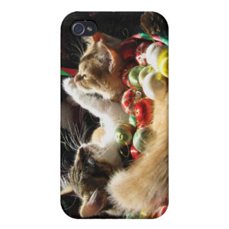 Dos gatos del gatito del navidad, gatitos junto, c iPhone 4 protectores