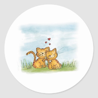 Dos gatos en el amor - ejemplo de la acuarela etiqueta redonda