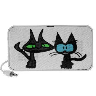 Dos gatos felices del gatito portátil altavoces