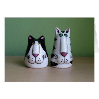 Dos gatos frescos tarjeta de felicitación