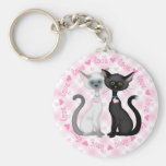 Dos gatos lindos en amor llaveros personalizados